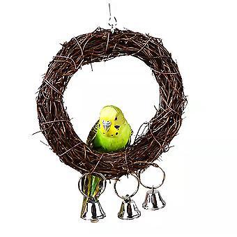 Haustier Papagei Rattan Schaukel Glocke kleines und mittleres Vogel Spielzeug (15cm)