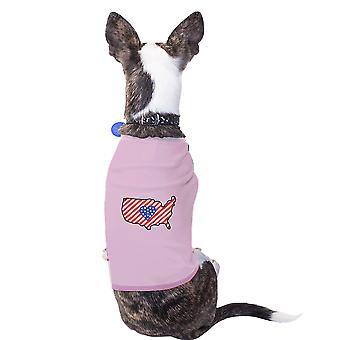 العلم الأمريكي نمط الولايات المتحدة الأمريكية خريطة بيانية القميص الوردي للحيوانات الأليفة الصغيرة فقط