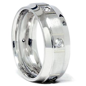 Mens 3/4ct Comfort Fit 14K White Gold Diamond Wedding Band Ring