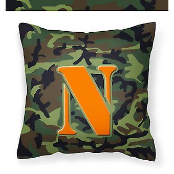 Monogramma iniziale N Camo verde decorativo tela tessuto cuscino CJ1030