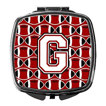 Letter G Football Cardinal and White Compact Mirror