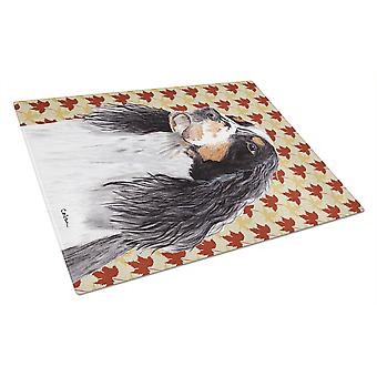 Springer Spaniel Fall Leaves Portrait Glass Cutting Board Large