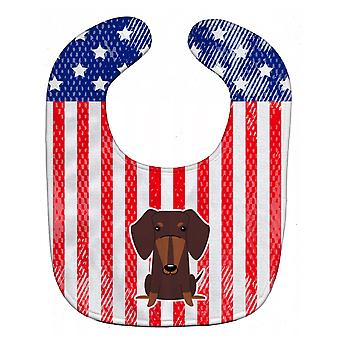 Carolines Treasures  BB3126BIB Patriotic USA Dachshund Chocolate Baby Bib