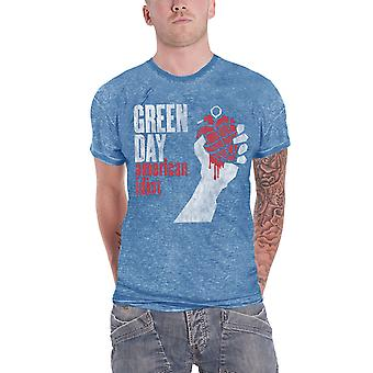 Green Day T Shirt American Idiot Vintage Logo Official Mens New Blue Burnout