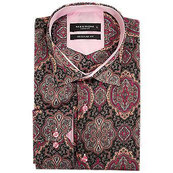 Oscar Banks Satin Brocade Print Satin Mens Shirt