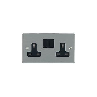Hamilton Litestat Hartland Satin Stainless 2g 13A DP Switched Socket BL/BL