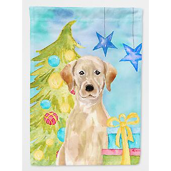 Carolines skatter BB9401GF gul Labrador Christmas flagg hage størrelse
