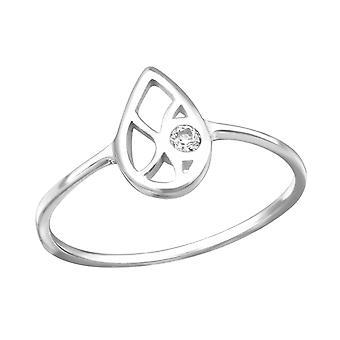 Слеза - 925 стерлингового серебра кубического циркония кольца - W27257x