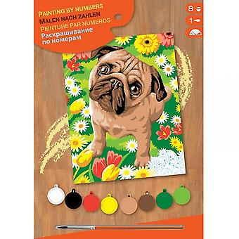 Sequin Art Pug Dog & Flowers Junior Paint By Number