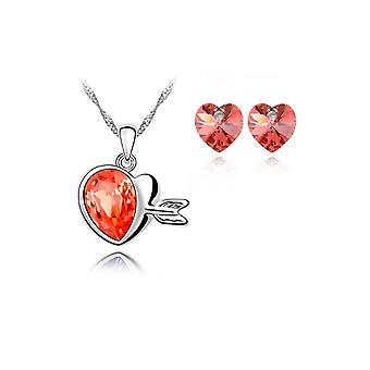 Crystal Love Hearts Silver Elegant Drop Earrings And Necklace Jewellery Set Orange