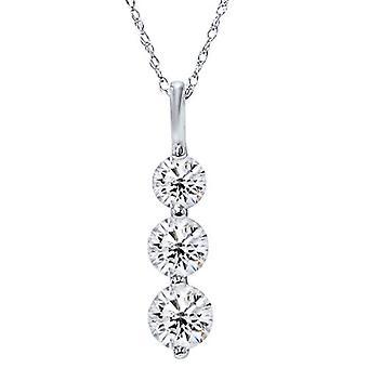 SI 2.00CT Three Stone Real Diamond White Gold Pendant