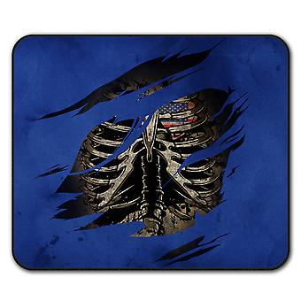 USA Skeleton Death  Non-Slip Mouse Mat Pad 24cm x 20cm | Wellcoda