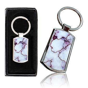 i-Tronixs - Premium Marble Design Chrome Metal Keyring with Free Gift Box (2-Pack) - 0041