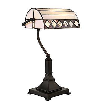 Interiors 1900 Fargo einzigen leichten Tiffany Banker Lampe mit Kunst