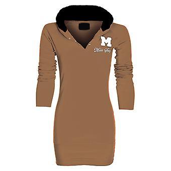 Nuovo signore Miss Sexy pianura cotone lunga manica Womens maglione maglia con cappuccio