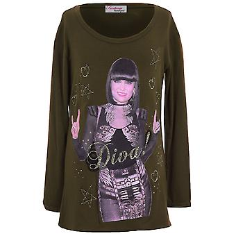 Children's Long Sleeve Celeb Jessie J Diva Print Glitter Girls Long Top T-shirt