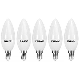 5 x Sylvania ToLEDo Candle Dimmable E14 V3 5.6W Daylight LED 470lm [Energy Class A+]