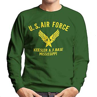US Airforce Keesler AF Base Mississippi Yellow Text Men's Sweatshirt
