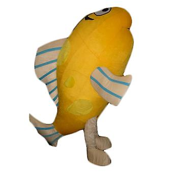 mascot SPOTSOUND giant, orange, beige and blue fish