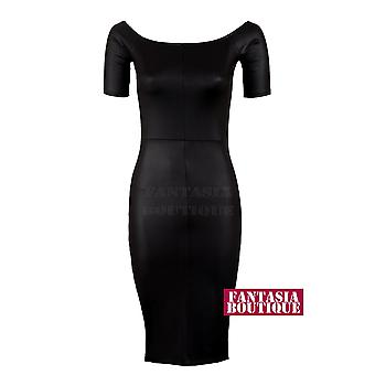 Damen Cap Sleeve PVC Nass Leder Look Stretch Midi Bodycon Kleid für Damen