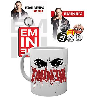 Eminem Mug Keyring and Badge Pack Eyes Logo Slim Shady new Official Gift Set