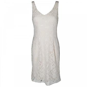 Veromia Occasions Sleeveless V Neck Lace Shift Dress