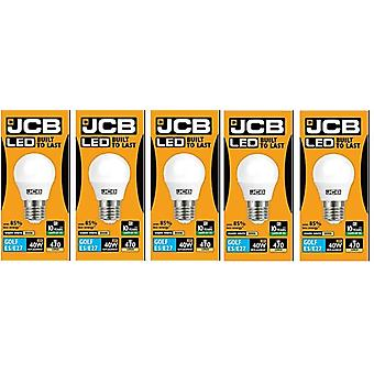 5 X JCB 6w LED E27 Golf Ball Bulbs Edison Screw, 40w Incandescent Bulb Equivalent, 470lm, Warm White 3000k , Non Dimmable, LED Edison Screw Golf Ball Light Bulbs, 220-240v[Energy Class A+]