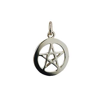 9ct Gold 19mm schlicht Pentangle im Kreis Anhänger oder Charm