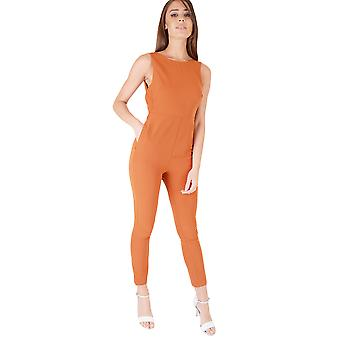 Goldie London Burnt Orange Overalls mit Rückenschmerzen