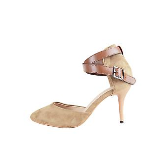 LMS Beige Suede Pointed Toe High Heel Shoe With Tan Ankle Strap