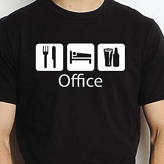 Äta sova dricka Office svarta handen tryckt T shirt Office stad