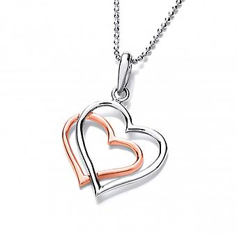 Cavendish French Sterling Silver and Copper Entwined Heart Pendant with Silver Chain