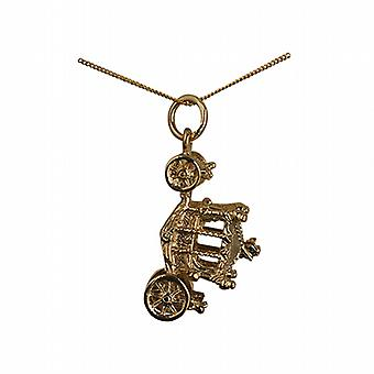 9ct Gold 15x22mm Coronation Coach Pendant with a curb Chain 20 inches
