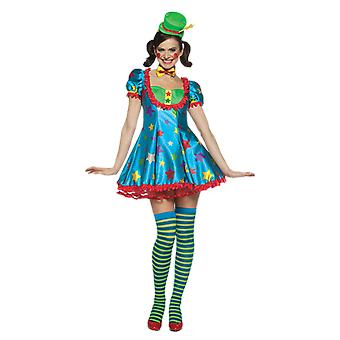 Womens Star Clown Circus Carnival Fancy Dress Costume
