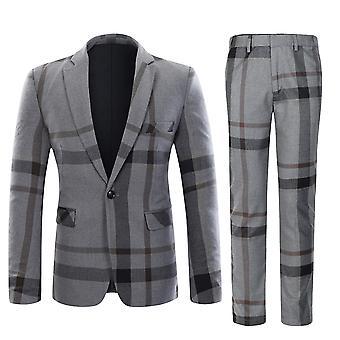 Banda de moda de Allthemen los hombres empalmados traje de 2 piezas Casual de algodón y lana