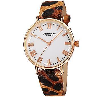 Akribos XXIV AK1080RG kvinnors djur Print Cavallino läderrem Watch