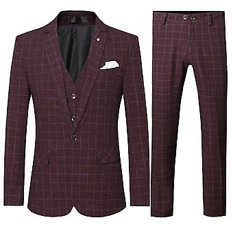 Allthemen Herenkostuums 3-delige kostuums Plaid Wedding Business blazer & broek & vest