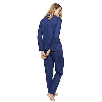 Cyberjammies 1322 vrouwen Nora Rose Thea Navy blauw Jacquard katoen pyjama set
