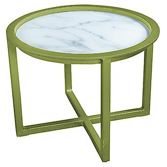 Plage7 - France QUEENS LOUNGE TABLE Alum/GLASS Marble Look 60CM  L'olive