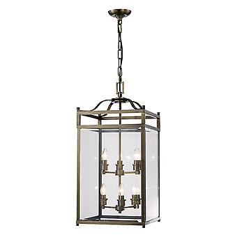 Diyas Aston Pendant 6 Light Antique Brass/Glass