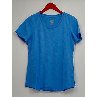 C. wonder XXS Essentials SLUB brei gebogen hem top blauw A286460