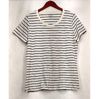 Mossimo Supply Co. XXL Striped Short Sleeve Tee White / Black Top Womens #6
