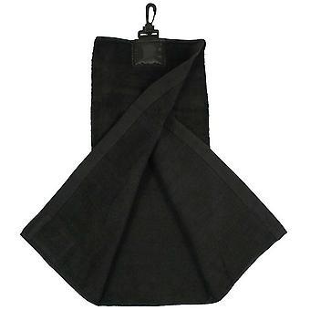 Kablo zwarte Tri-Fold Golf handdoek met clip & Club scrub patch Master Cleaner microvezeldoek