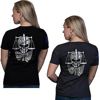 Nine Line Apparel Women's TBL Skull Relaxed Fit V-Neck Short Sleeve T-Shirt