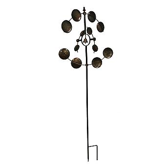 Metallic Brown Metal Art Dual Spinning Wind Catcher Garden Stake
