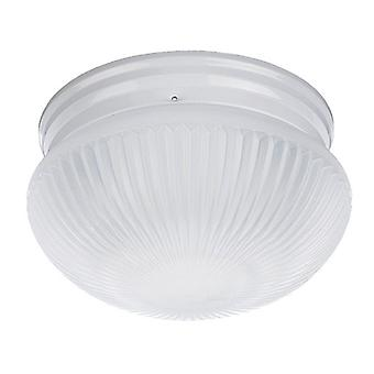 Sea Gull Lighting 59440BLE-15 Flush Mount with White Finish, Satin White Ribbed Glass Shades