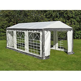 Tente de réception PLUS 4x6m PE, Gris/Blanc