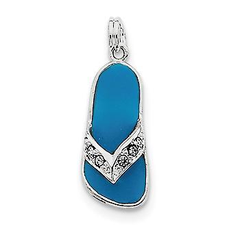 925 zilver gepolijst open terug rhodium-plated Aqua geëmailleerd Crystal flip flop charme