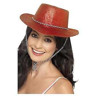 Womens rouge Cowboy Glitter Hat déguisements accessoires