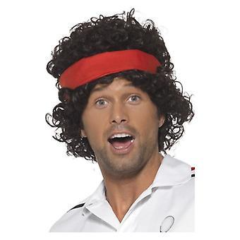 Hombres de 1980 años 80 tenis jugador peluca disfraces accesorios